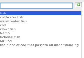 SKOT with a list of words about fish.